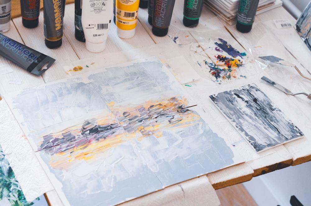 painter palette on board