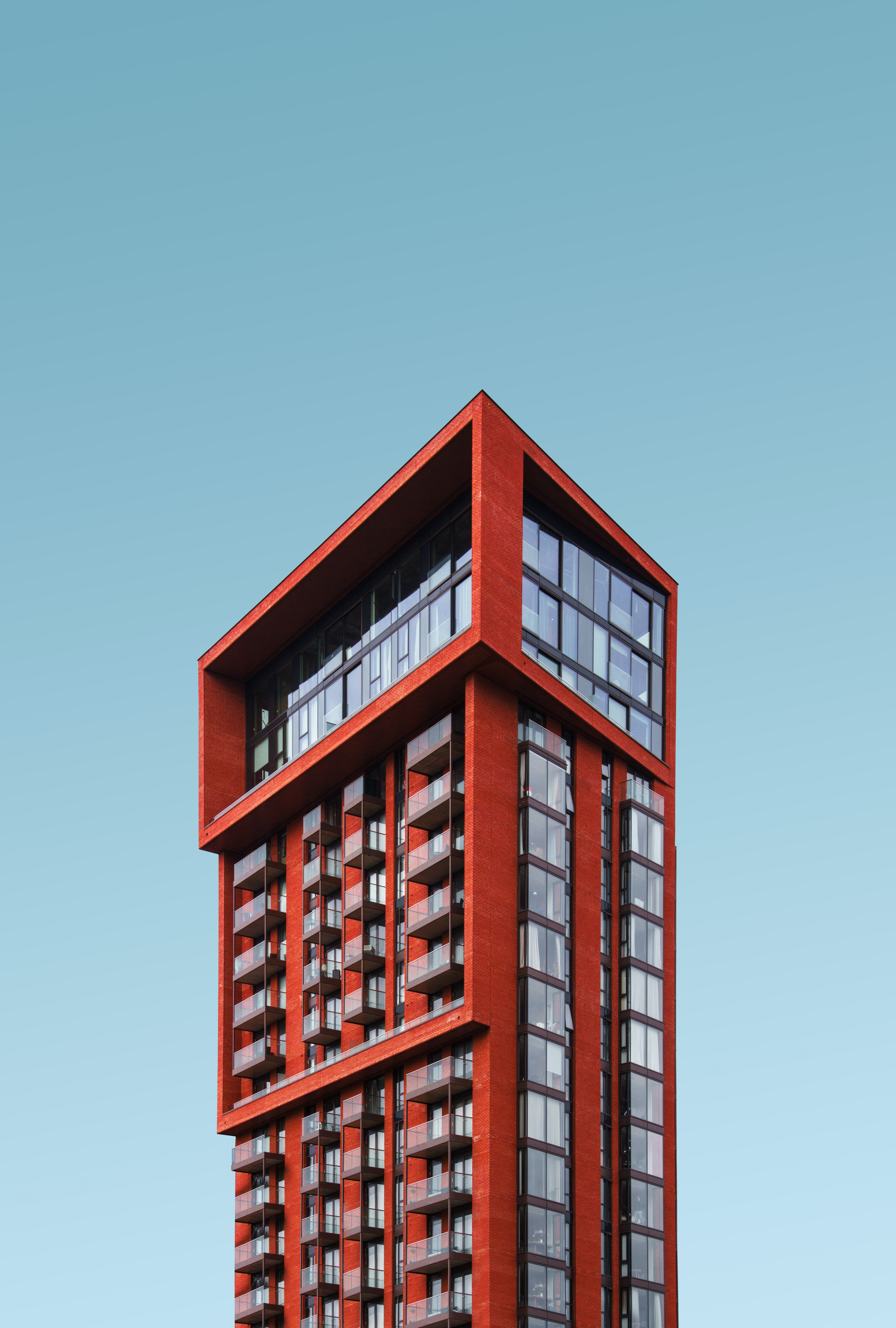 red high rise building