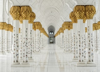 white and gold painted temple