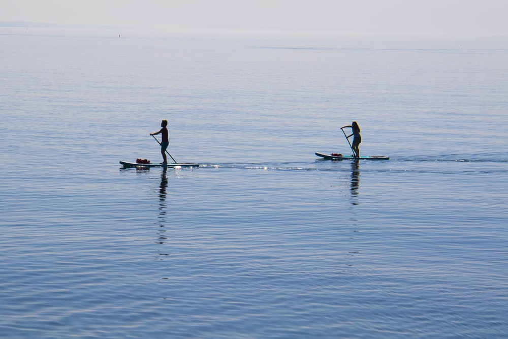 people ridding paddleboard on body of water