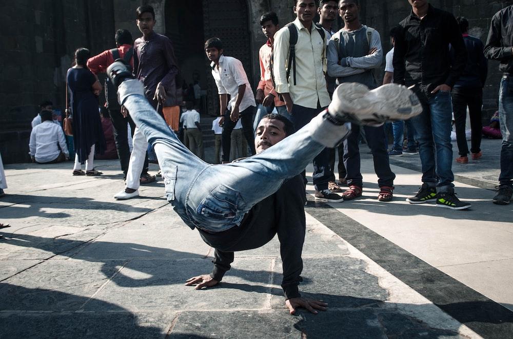man doing break dance
