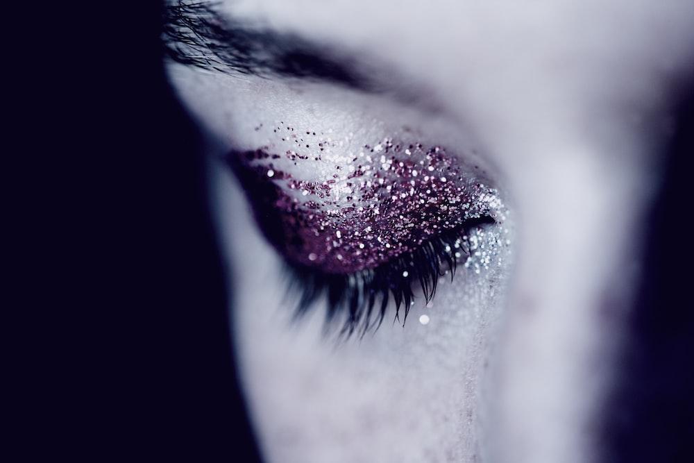 woman with glittered eyeshadow