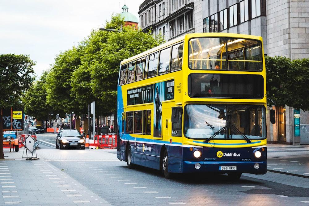 double-decker bus near building