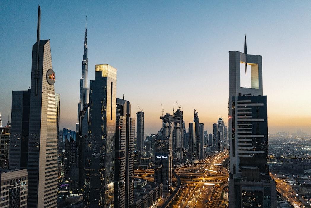 City skyline at night Abu dhabi