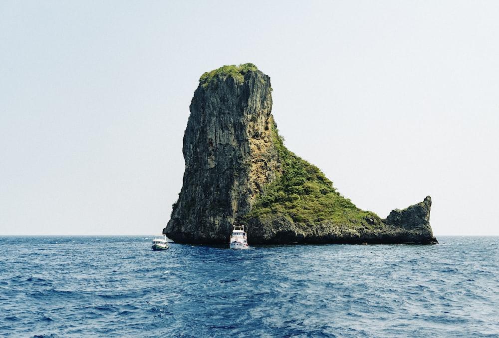 landscape photography of island
