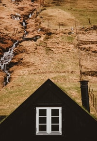Black nordic house with grass roof