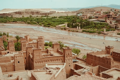bird's eye view of town morocco zoom background