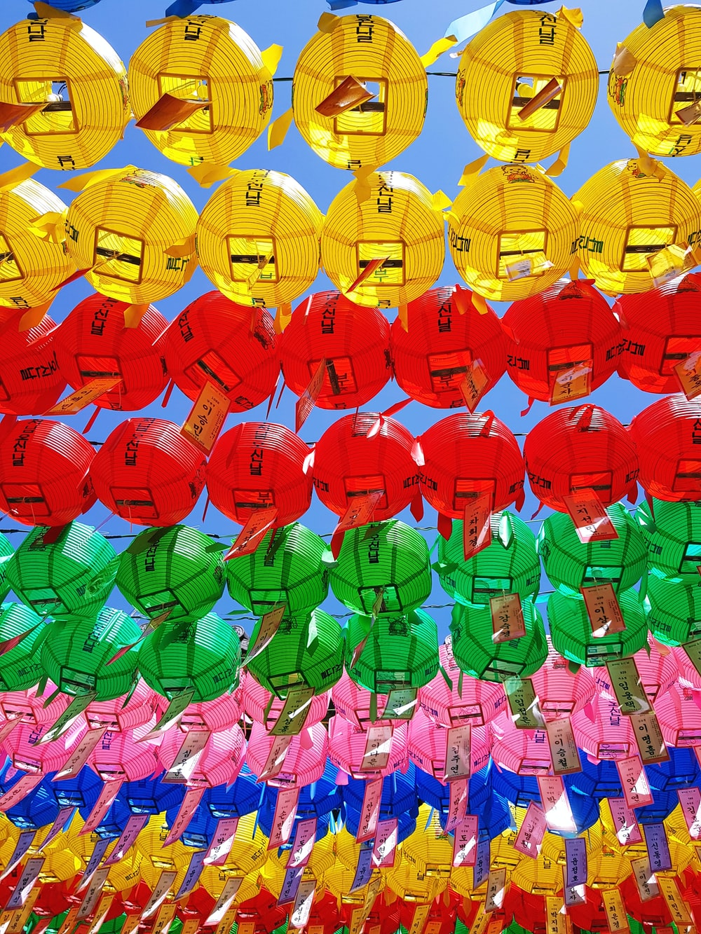 assorted-color hanging lanterns