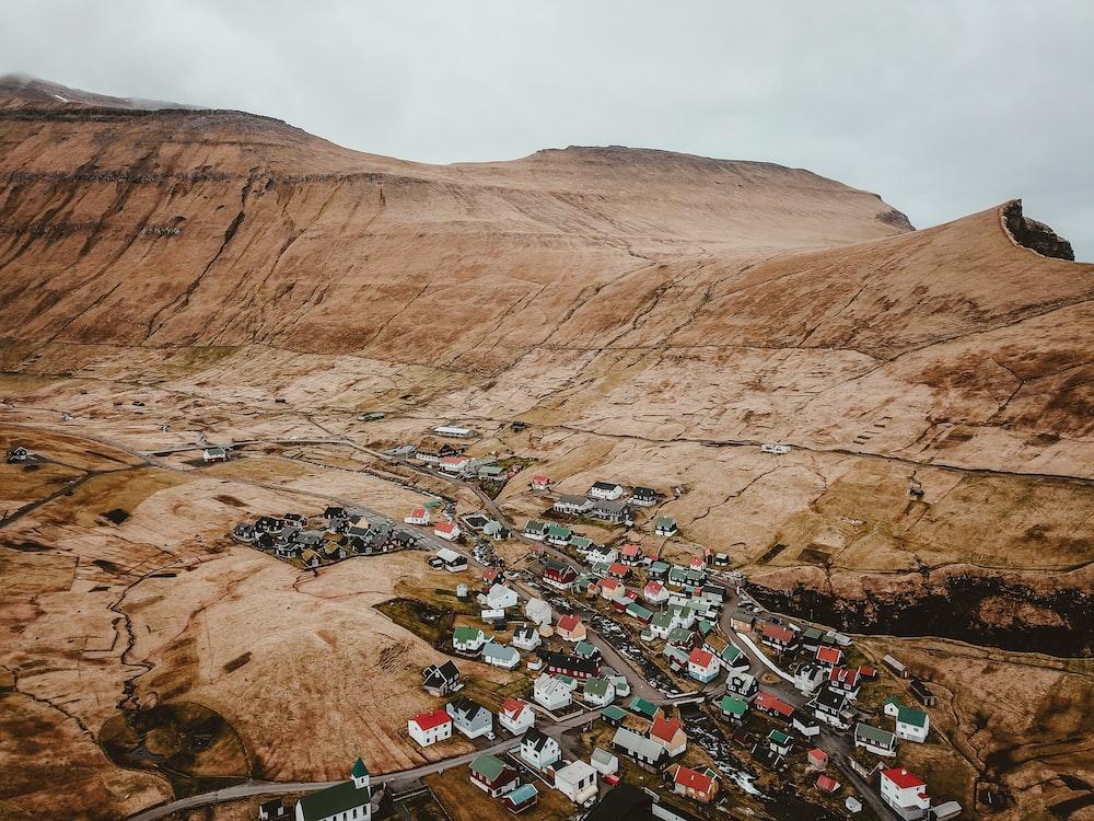bird's eye view of rural town
