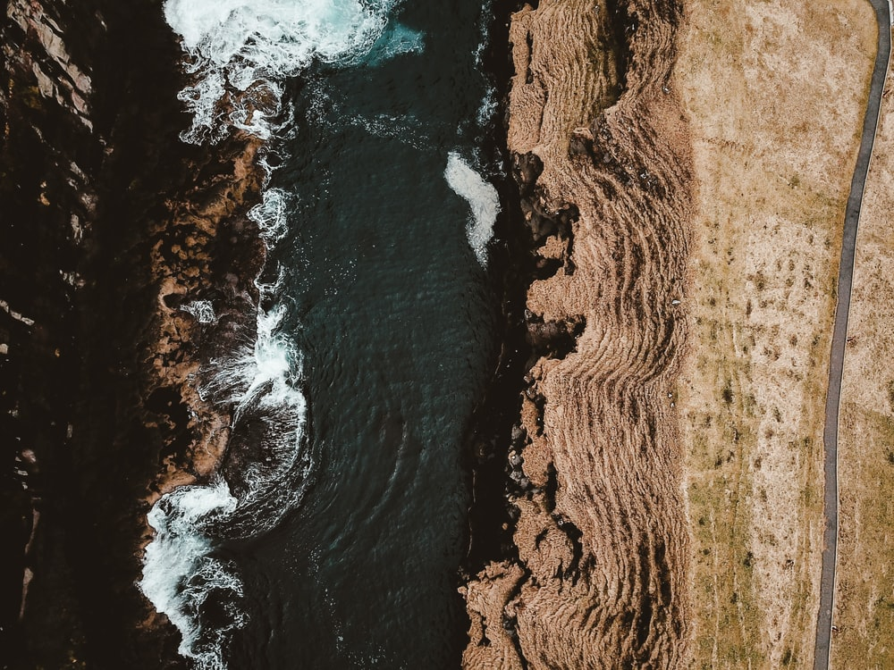 bird's eye view photography of cliff