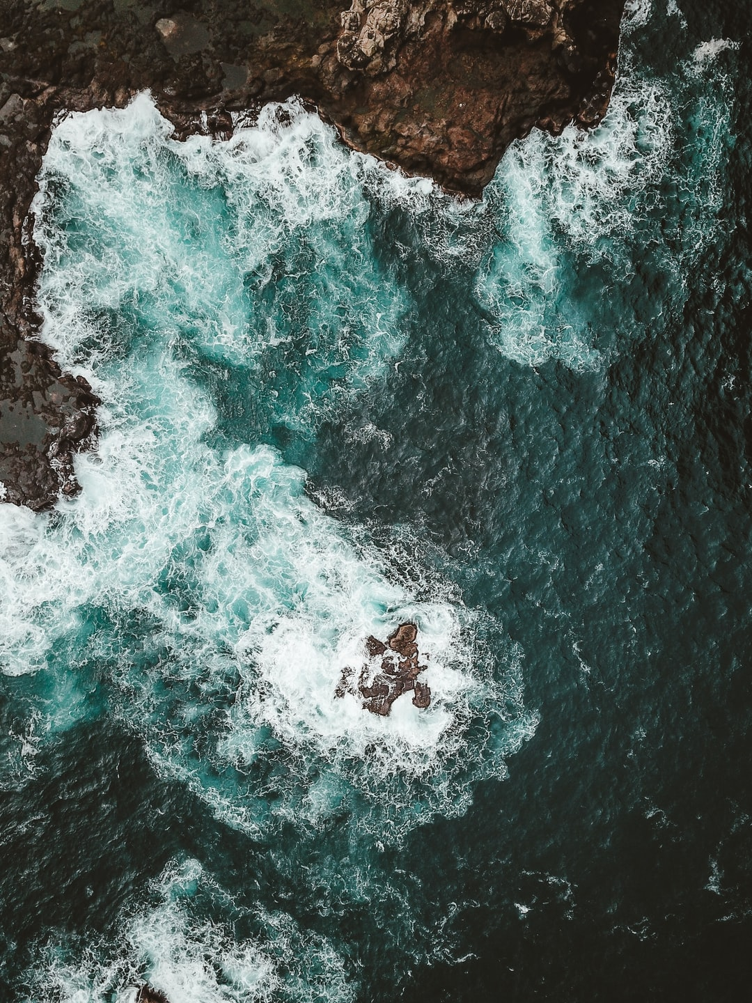 Aerial view of sea and rocks