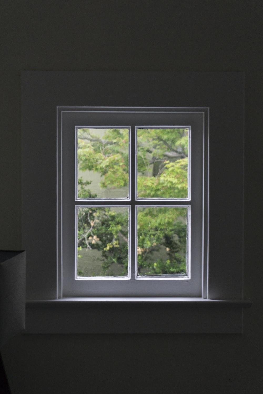 gray wooden windowpane