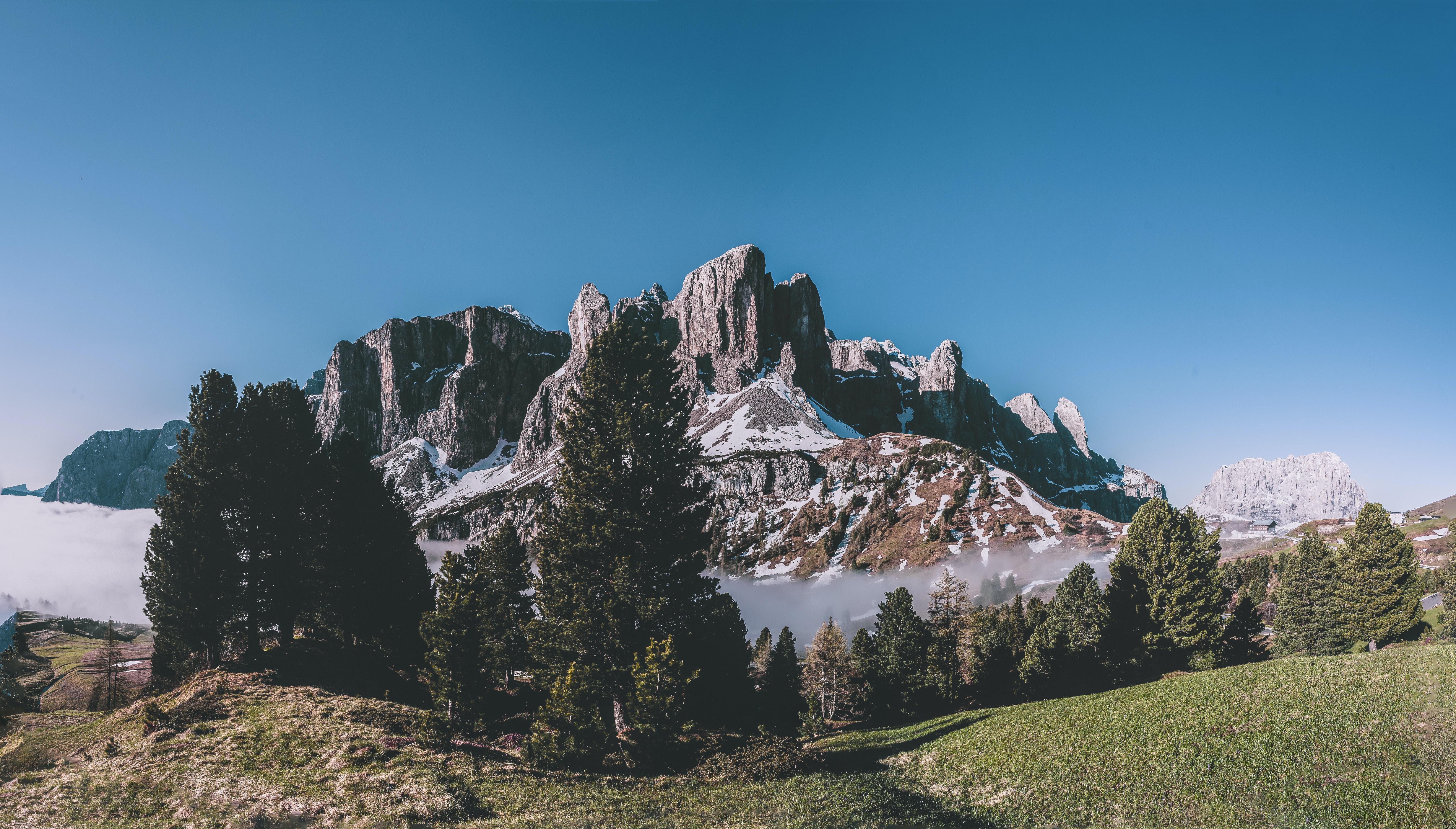photo of mountain near trees