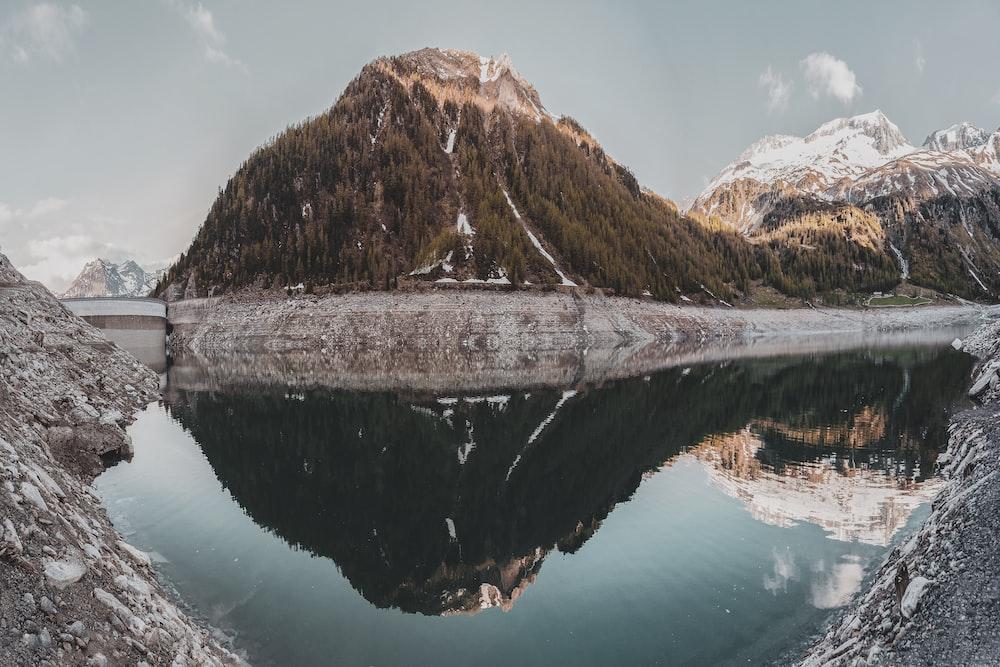 mountain water reflect landscape photo
