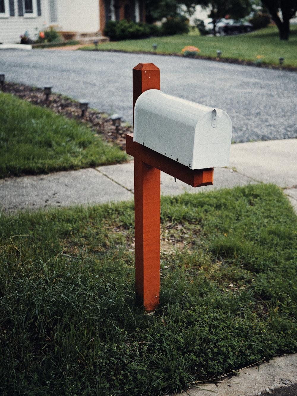 gray metal mail box