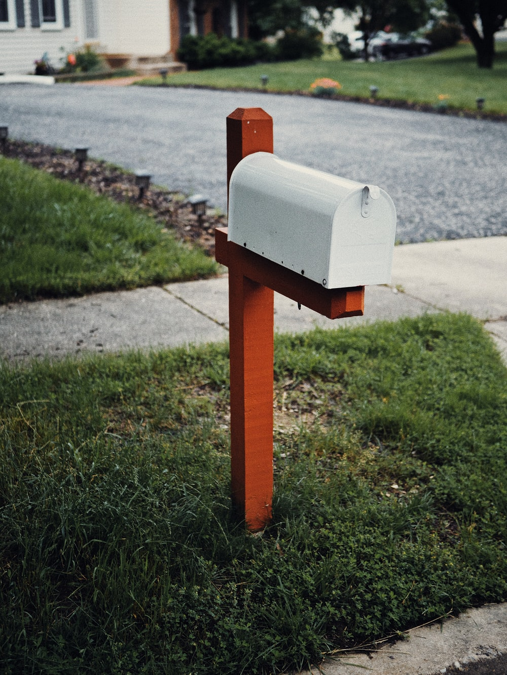 gray metal mail box