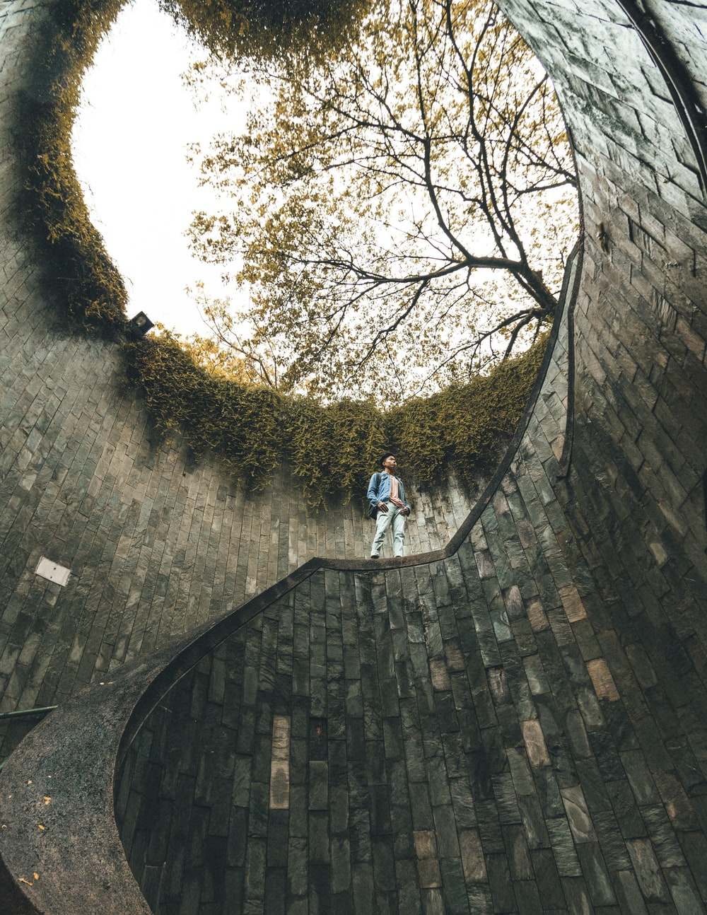 man standing on spiral stairs