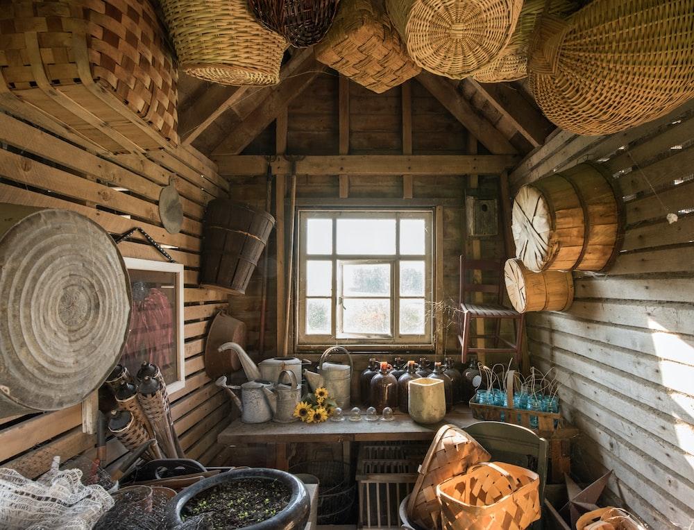brown wicker basket on wall