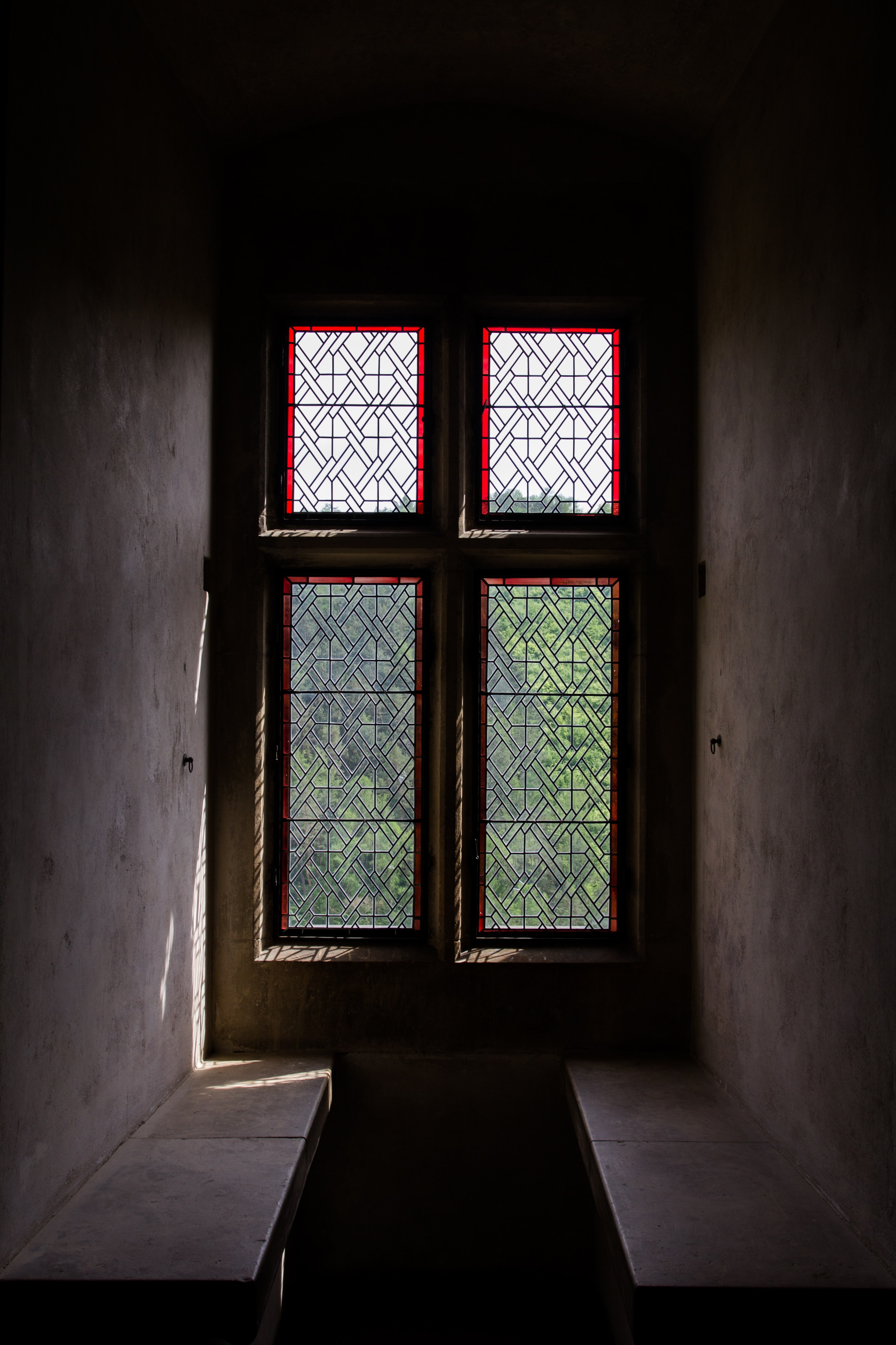white and clear window pane