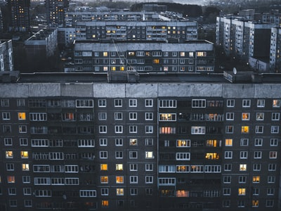 aerial photography of grey painted building russia zoom background