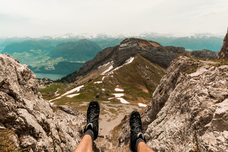 photo of person on mountain
