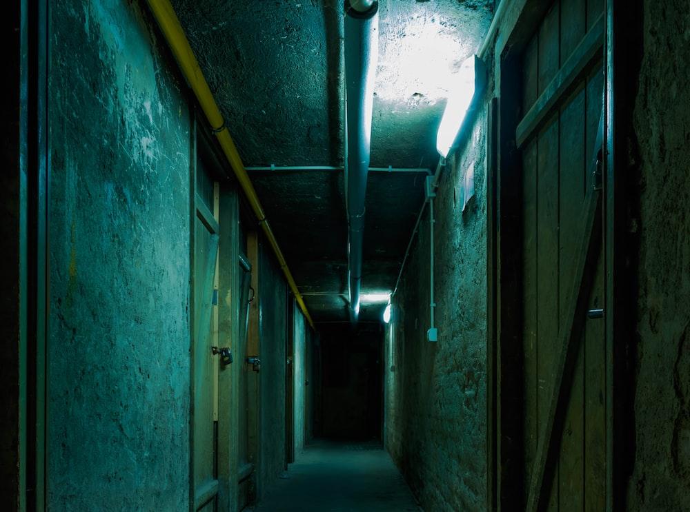 grey painted hallway