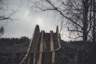 brown wooden foot bridge rollercoaster zoom background