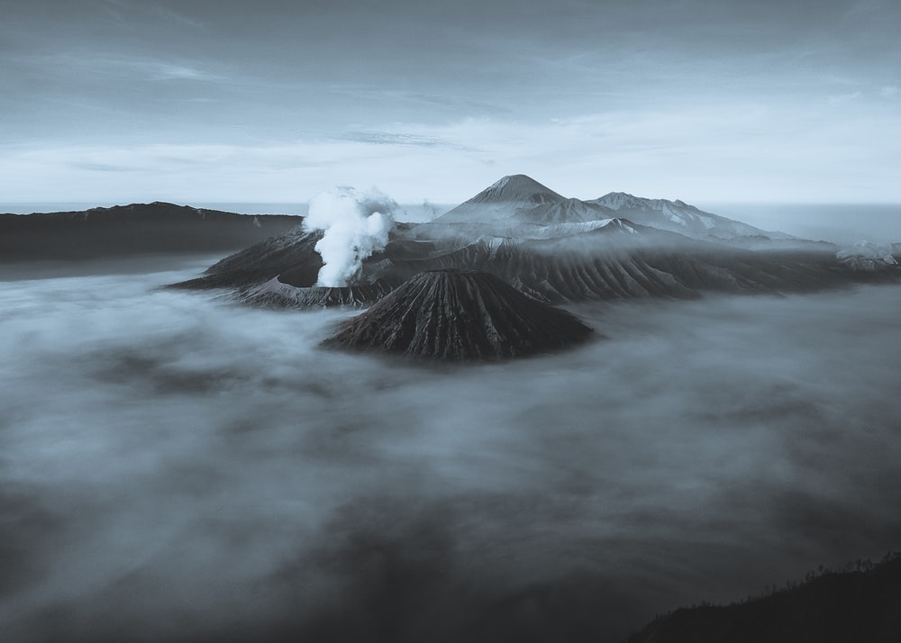 volcano covering with fog