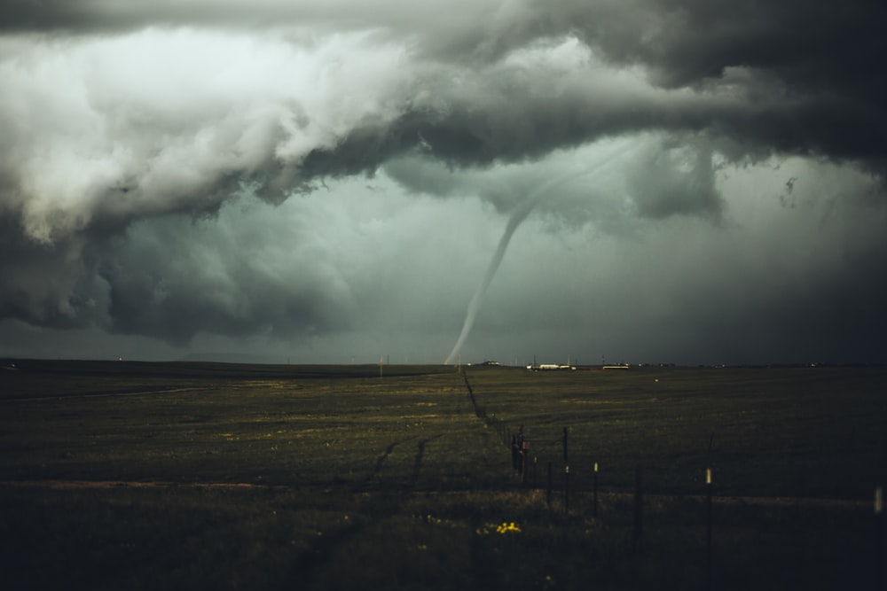long exposure photography of hurricane