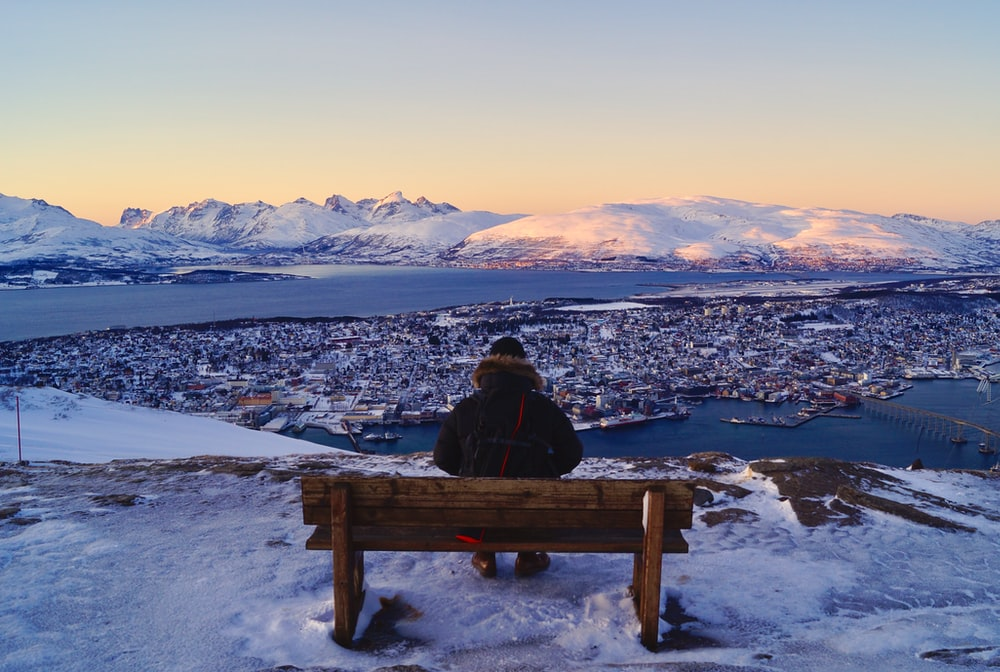 person sitting down on brown wooden bench looking at view