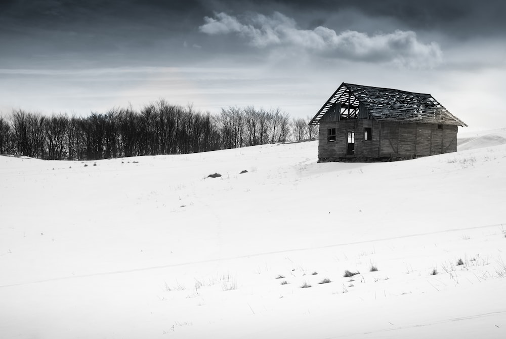 house on white snow field