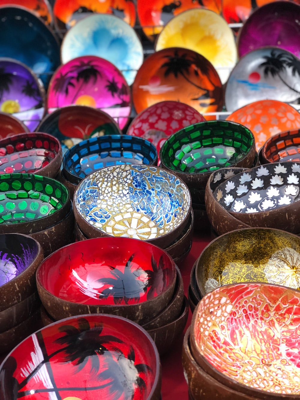 assorted-color bowl lot