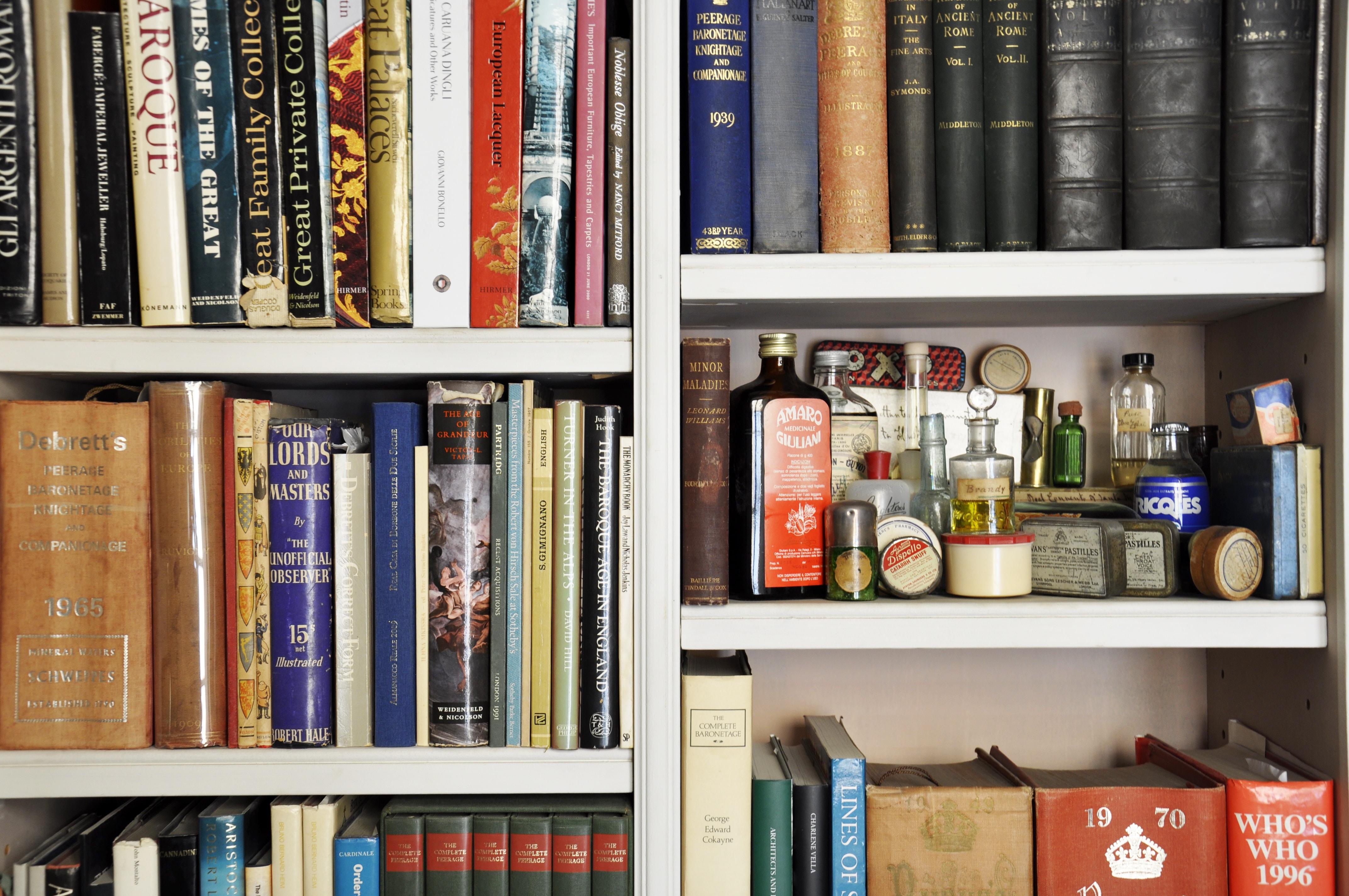 books on wooden rack