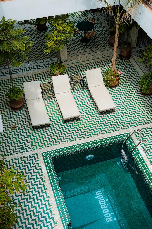 three lounges on pool area