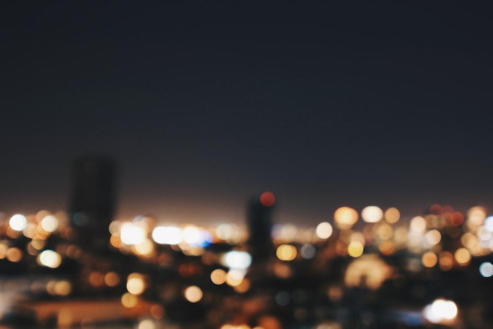 bokeh photography of city skyline