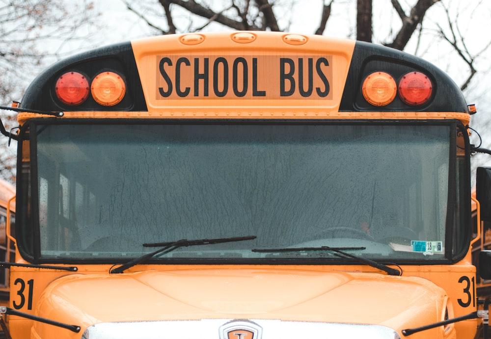 macro photography of school bus
