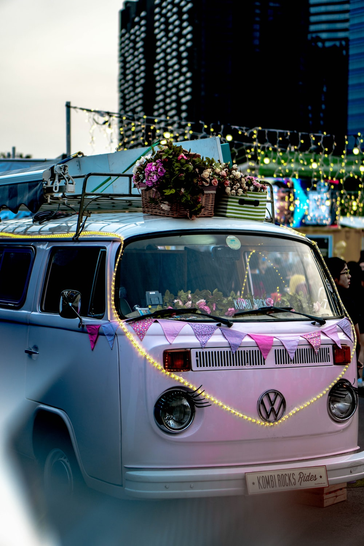 flowers on roof of Volkswagen Samba