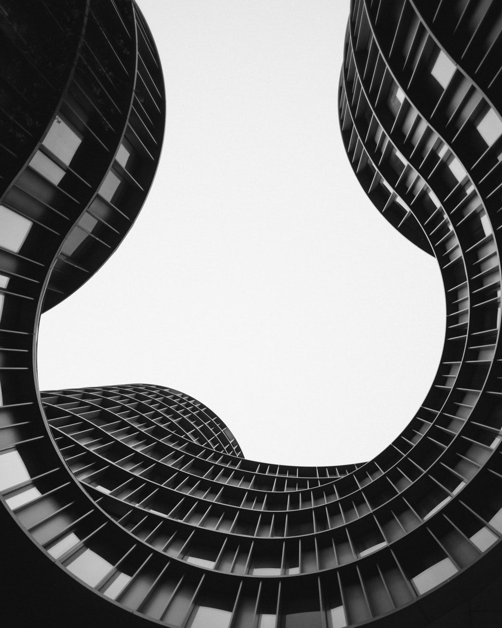grayscale photo of low angle view of building