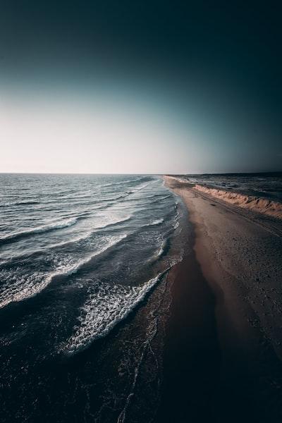 calm waves crashing on shore