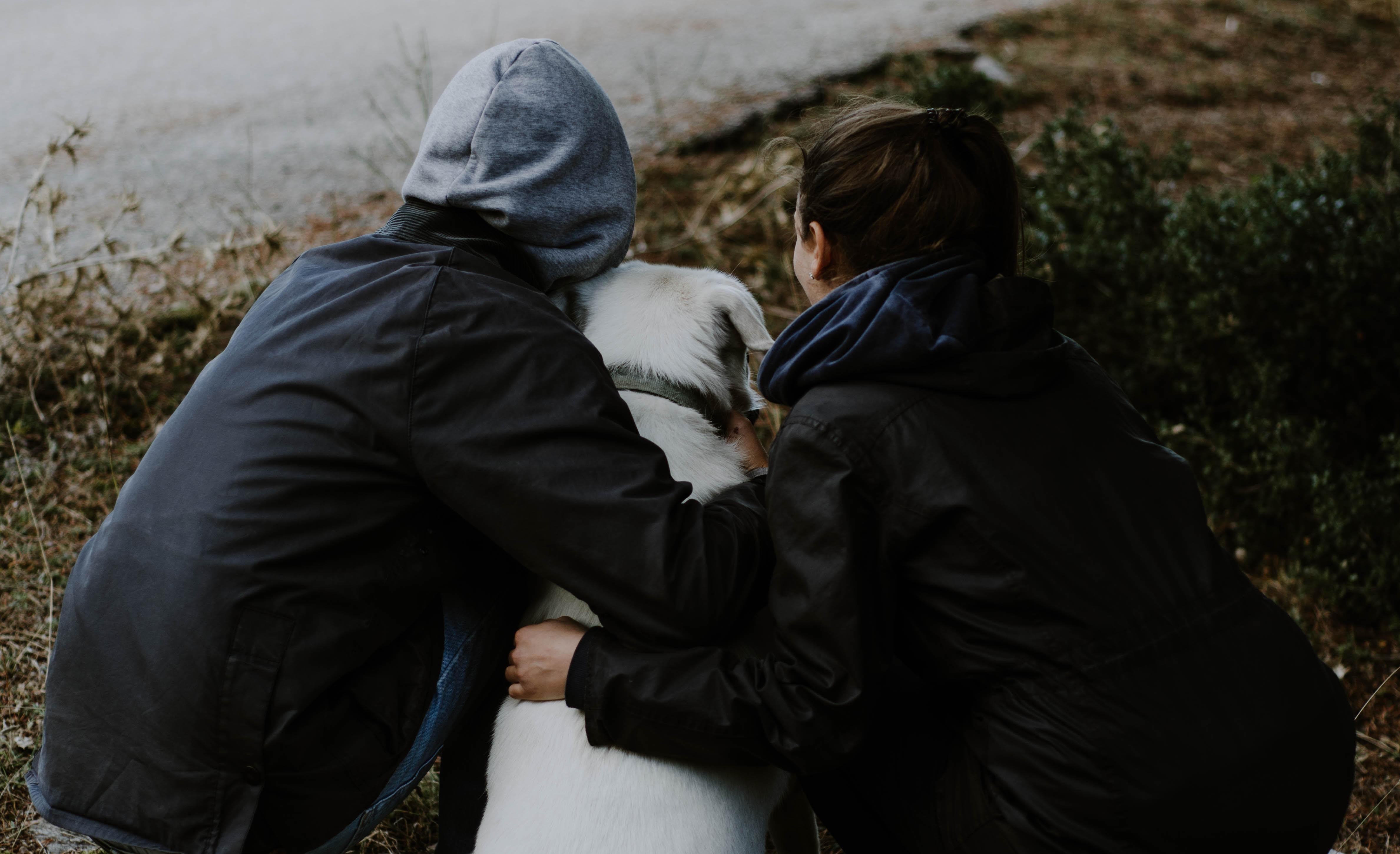 man and woman holding Labrador retriever