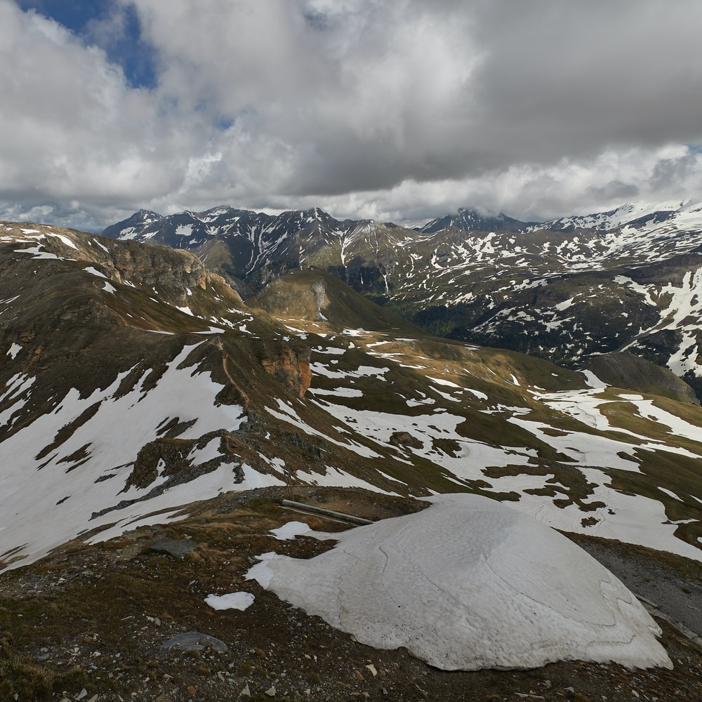 aerial view or snowy mountains