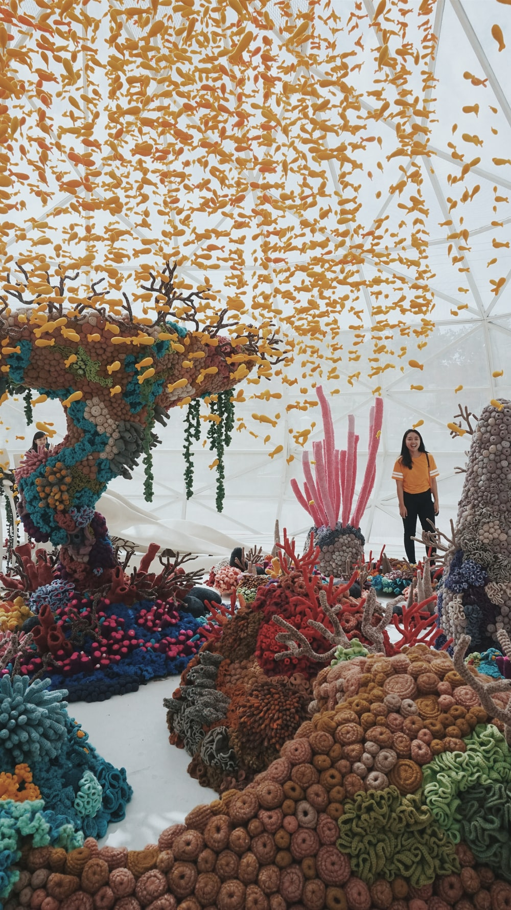 person standing on coral design