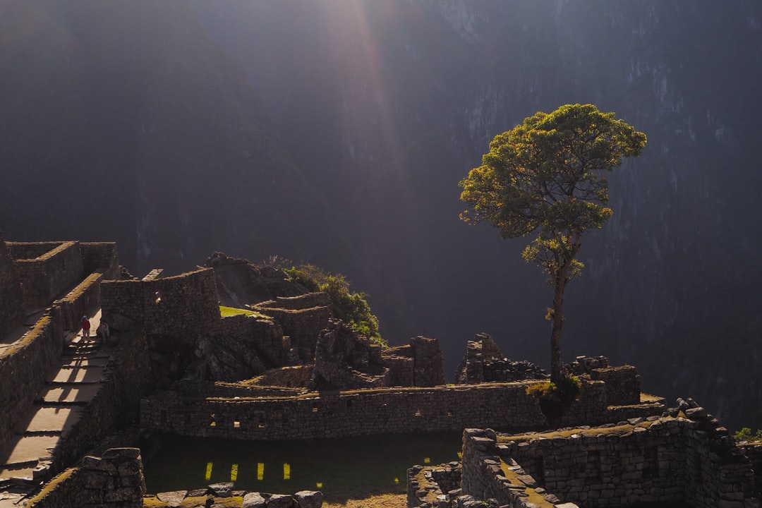 First break of light in the morning at Machu Picchu.