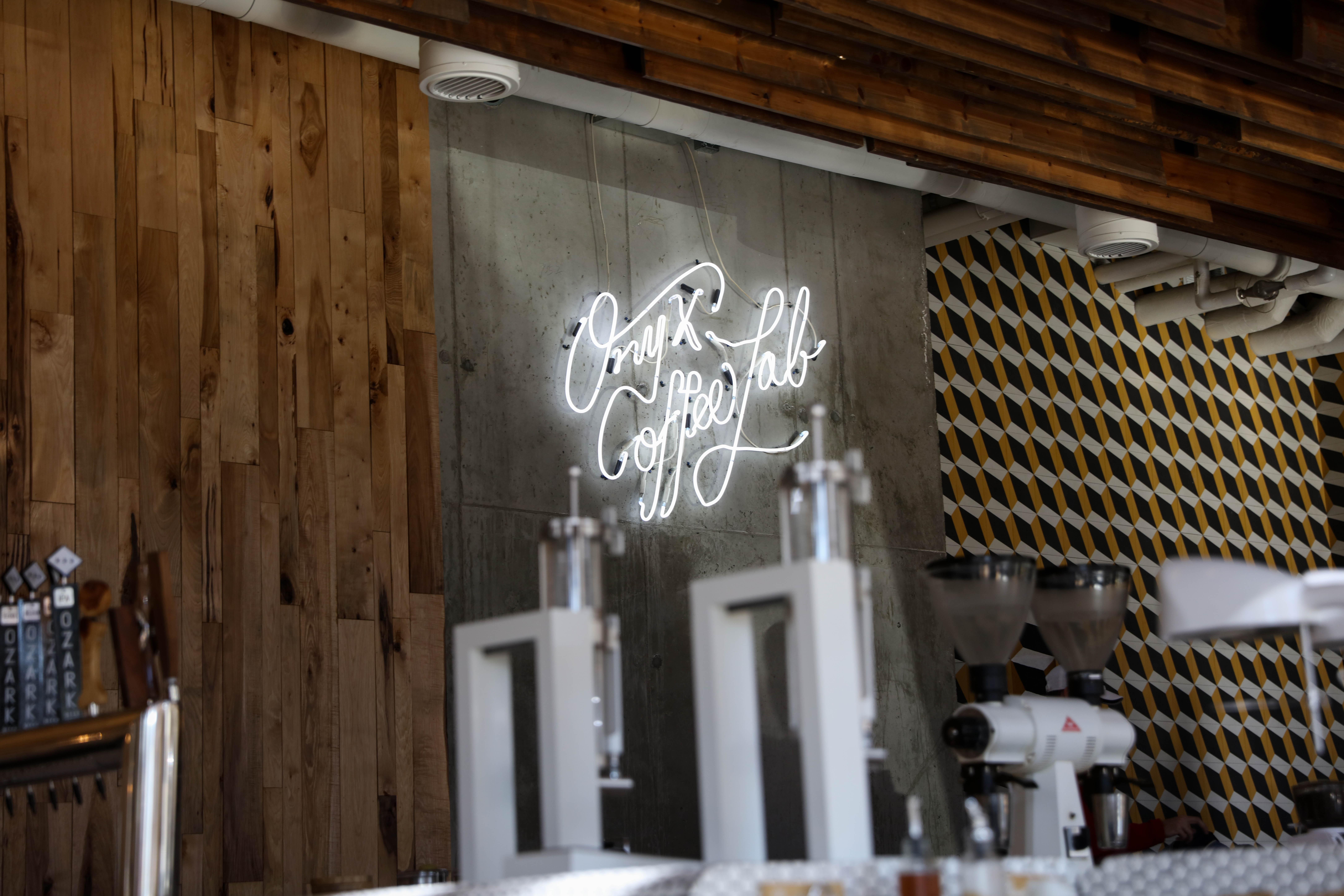 turned-on caffee lab LED signage