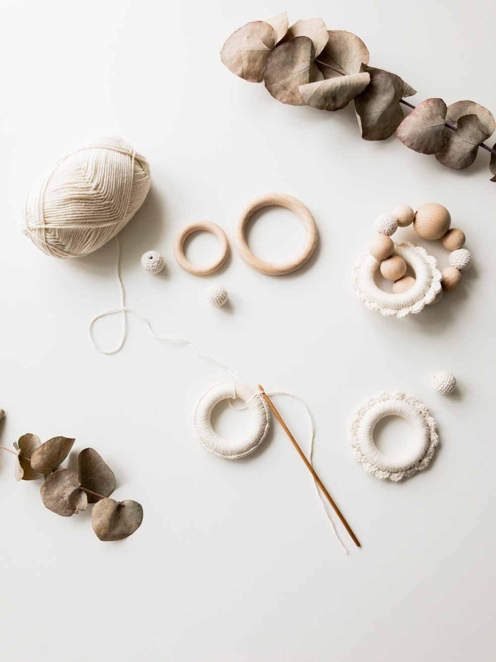 brown yarn and accessories