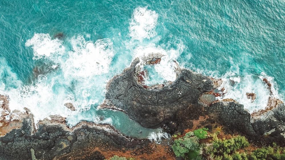 bird's-eye view of rocky seashore