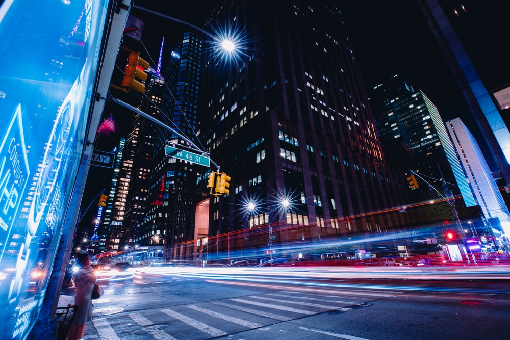 timelapse photography of city buildings during nighttime