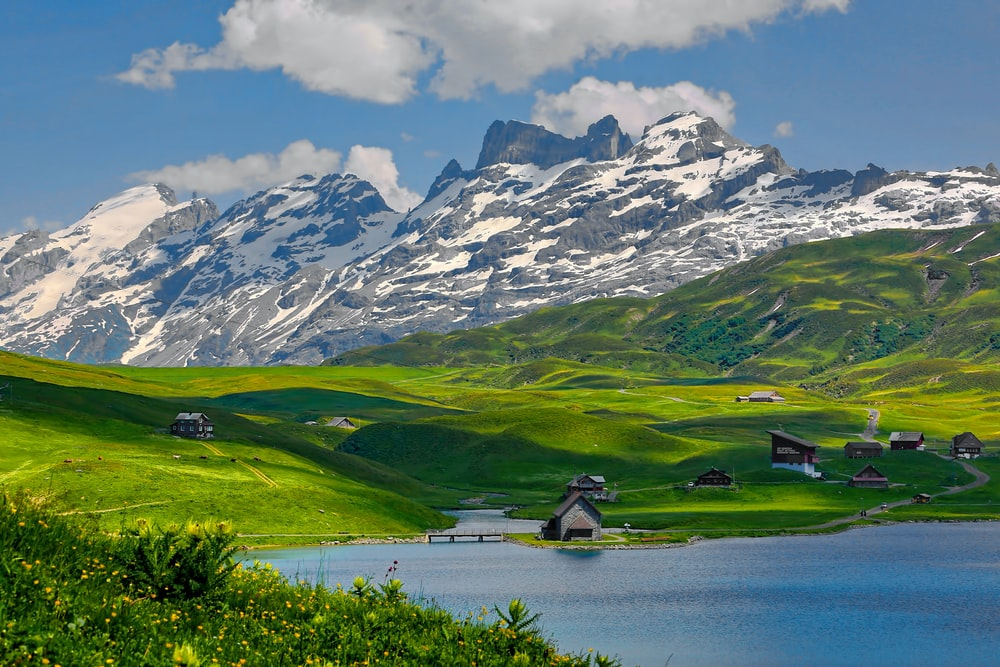 mountain and houses