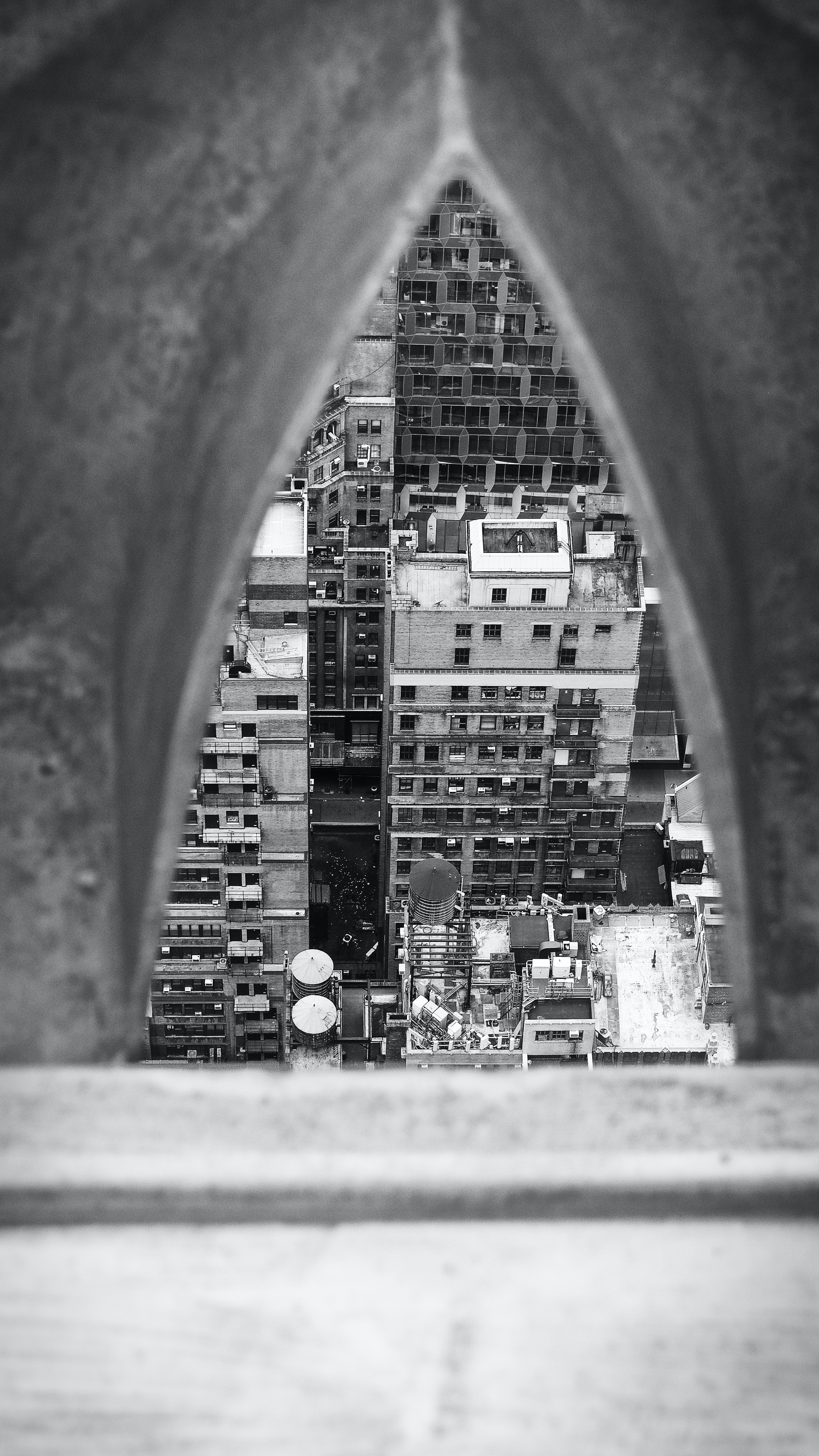 grayscale photo of city building