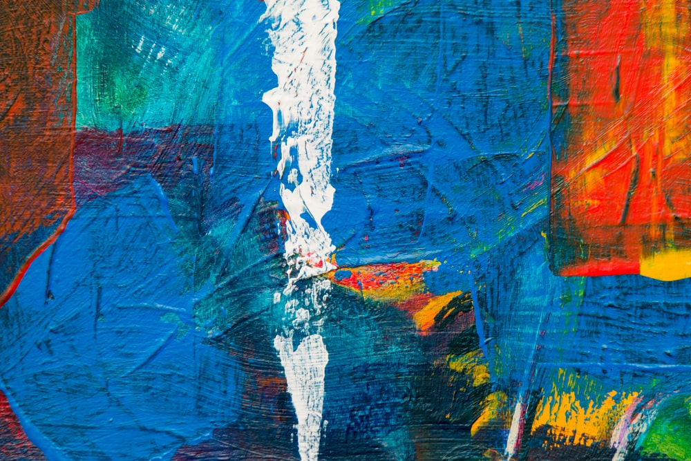 blue white and red abstract painting
